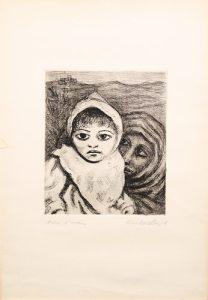 Carlo Levi - Ritratto di bambina, s.d., litografia, mm 500x350